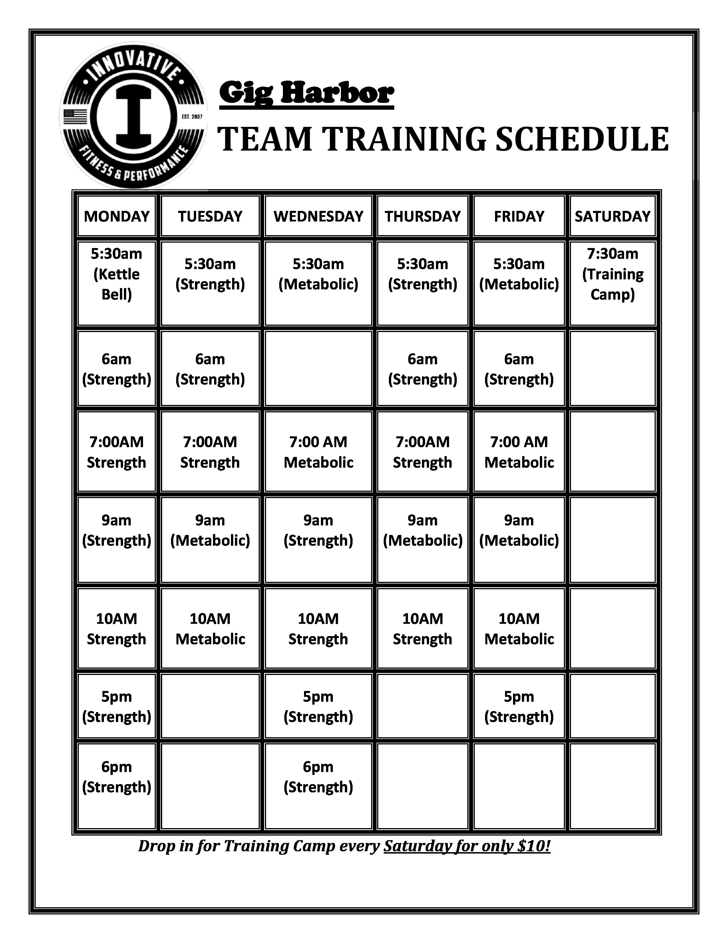 GH Team Training Schedule - AUG 17