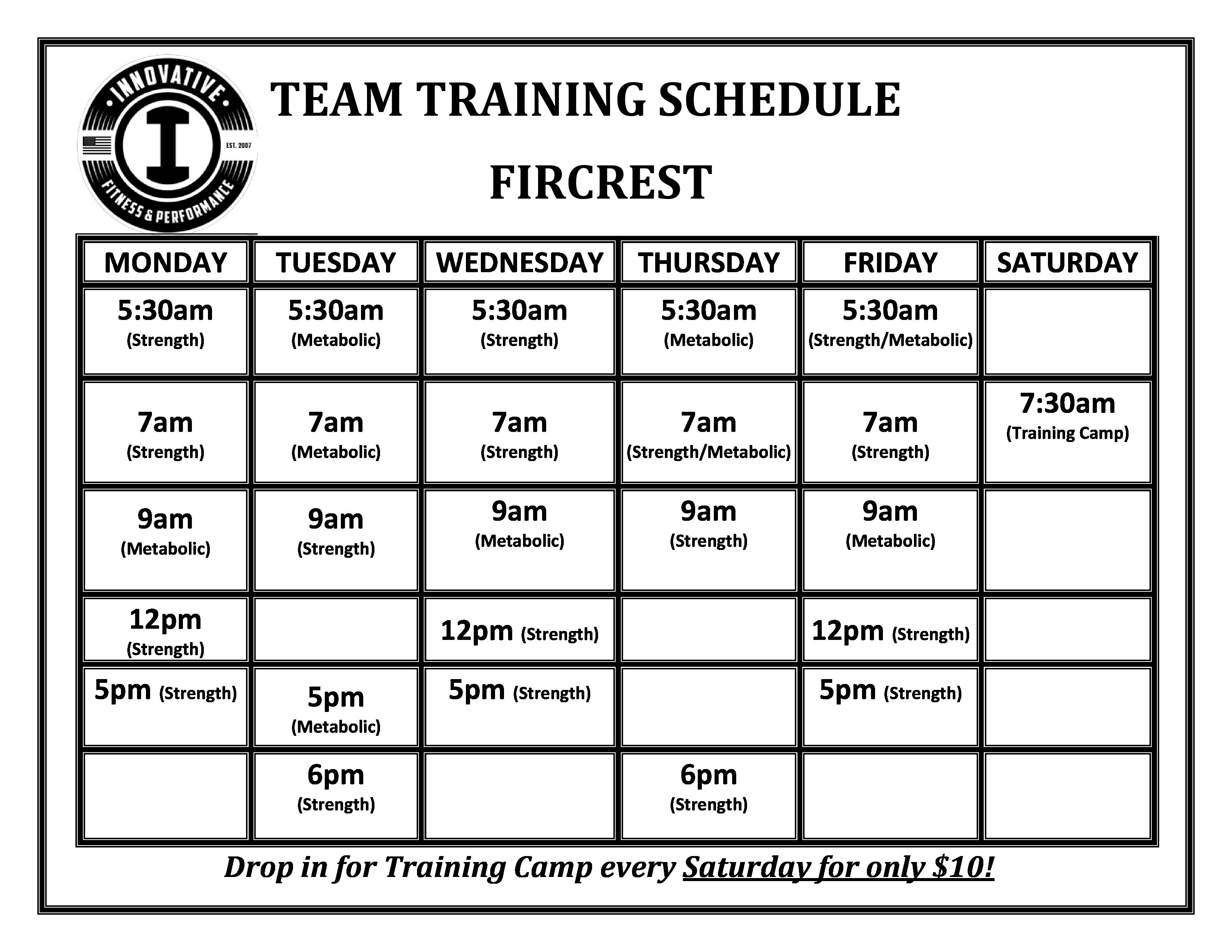 Fir Team Training Schedule - sept